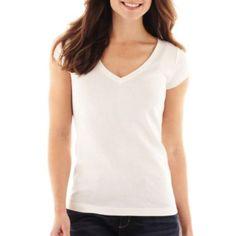 (basics) Liz Claiborne Short-Sleeve V-Neck Tee   found at @JCPenney