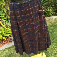 Vintage Italian Blue and Plum Check Skirt/Kilt with Gold Buckle Size 10  FREE WORLDWIDE FREIGHT by PippiLime on Etsy