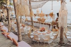 This tropical disco wedding in Canguu, Bali is just what the doctor ordered! An earthy color palette of terra cotta, turmeric, egg shell and peony pink gives life to the nuanced design elements of this 3-Day destination wedding from the abstract Matisse inspired welcome signage and triangular ceremony backdrop to the pampas grass and palm filled floral designs and the rattan chandeliers over the al fresco dinner. We cannot get enough of their unique love story too! Star-crossed lovers from oppos