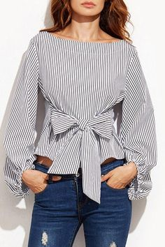 3680f75d55f Round Neck Bowknot Striped Blouses