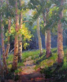 BECKY JOY Paintings Impressionist Realism Original Aspen/Birch Trees