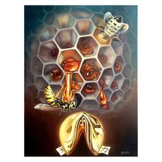 The Louis Leonard Art Gold Sweeter than Honey by Gyuri Lohmuller Canvas Wall Art features a stunning abstract design of bees and a shining gold fortune. Painting Prints, Wall Art Prints, Acrylic Paintings, Art Optical, Surrealism Painting, Bee Art, Illusion Art, Visionary Art, Surreal Art