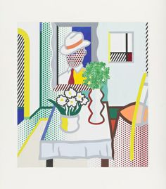 Roy Lichtenstein. Untitled (Table with Two Vases of Flowers). (1997)