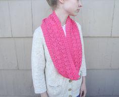 Neon Pink Infinity Scarf Knitted Merino Wool Luxury by Girlpower