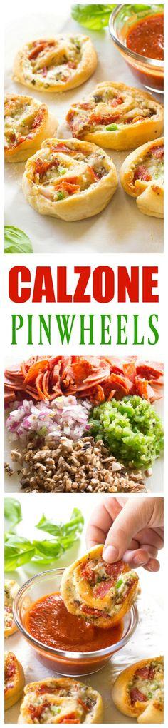 Pincéis de Calzone - pepperoni, cogumelos, cebola e pimentão verde.  /  Calzone Pinwheels - pepperoni, mushrooms, onion, and green bell pepper.
