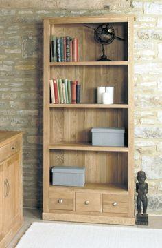 baumhaus mobel oak 3 drawer large bookcase