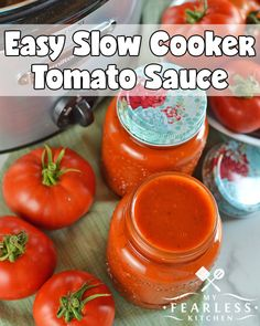 Slow Cooker Tomato Sauce from My Fearless Kitchen. Make the most of your garden-fresh tomatoes with this Easy Slow Cooker Tomato Sauce. Make a few big batches now and freeze it to use all winter long. Fresh Tomato Sauce Recipe, How To Make Tomato Sauce, Fresh Tomato Recipes, Easy Tomato Sauce, Canned Tomato Sauce, Pasta Recipes Using Fresh Tomatoes, How To Freeze Tomatoes, Freezing Tomato Sauce, Storing Tomatoes