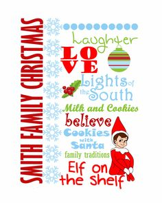 Girl Scout Swap, Girl Scouts, Christmas Words, Family Christmas, Personalized Christmas Gifts, Family Traditions, Word Art, Elf On The Shelf, Shelves