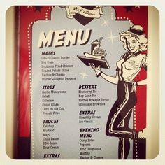 50s Theme food | menu American diner theme