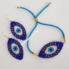 Beaded Earrings Patterns, Beading Patterns, Beaded Bracelets, Bead Embroidery Jewelry, Beaded Embroidery, Turkish Eye, Rakhi Design, Brick Stitch, Loom Beading