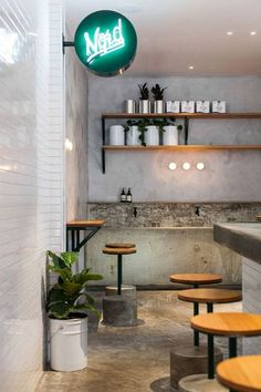 Love the simplicity of these stools combined with use of material  Nordburger diner by Peter Jay Deering:
