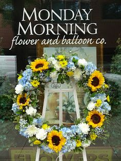 Funeral Wreath with Sunflowers