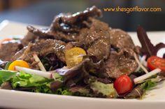 Delicious Garlic and Herb Steak Salad with Honey Balsamic Vinaigrette | She's Got Flavor