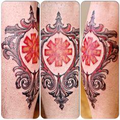 Custom Red Hot Chili Peppers Filigree Frame Tattoo by Joshua Doyon (IG: @InkedUpGing)