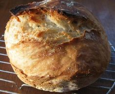 End Product - Baked Loaf of Jim Lahey's Recipe For No Knead Bread; includes direction for sandwich loaf & German hard rolls