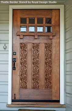 Give your door a hand-carved look for less by stenciling on a darker stain. Read on for more ways to jazz up a door.