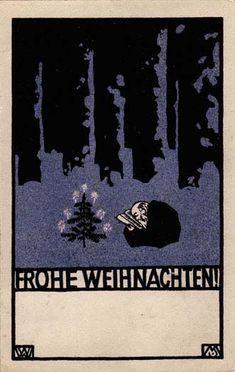 ¤ Frohe Weihnachten #28 Moriz JUNG.  Wiener Werkstatte postcard                                                                                                                                                                                 Mehr