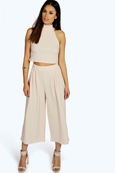 Rose High Neck Crop & Culotte Co-Ord Set | Boohoo
