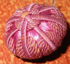 ButtonArtMuseum.com - Incredible Antique 19th Century Threadbound Fabric Button Threadback Shank 1