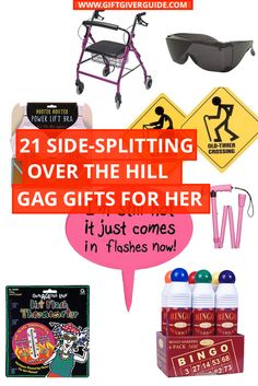 OVER-THE-HILL-GAG-GIFTS-FOR-HER Birthday Gag Gifts, 70th Birthday, Party Gifts, Birthday Celebration, Birthday Jokes, Birthday Ideas, Funny Gifts For Women, Gifts For Girls, Gifts For Her