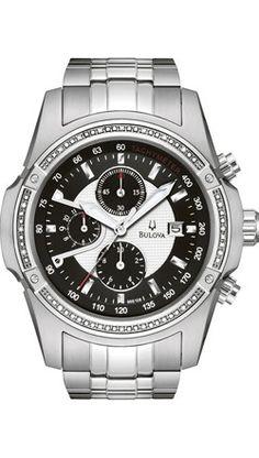 Bulova Haverford Diamond Chronograph Men's Stainless Watch - Stainless Bracelet - Black Dial