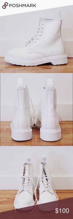 White 1460 Mono Dr. Martens Boots Size W7 Never worn before. Brand new condition. All white Dr. Martens Boots size women's 7. Dr. Martens Shoes Lace Up Boots