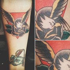 American Traditional #stayhightattoo #eagle #blackrose #tattoo