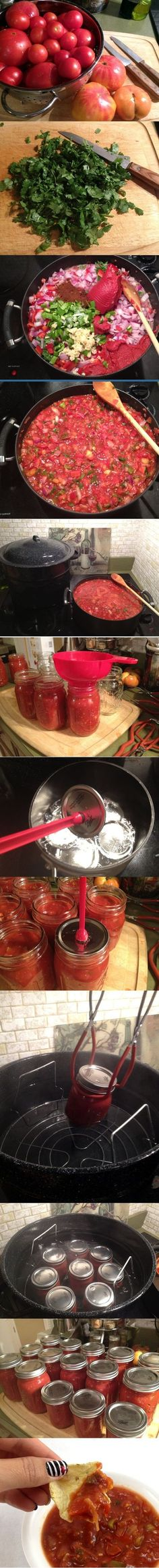 Making Homemade Salsa and Canning Step-by-Step How To Instructions.my DIL makes wonderful homemade canned salsa! Canning Homemade Salsa, Canning Recipes, Canning Tips, Pesto, Do It Yourself Food, Canned Food Storage, Home Canning, Food Hacks, Mexican Food Recipes
