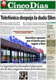 Los Titulares y Portadas de Noticias Destacadas Españolas del 27 de Agosto de 2013 del Diario Cinco Días ¿Que le pareció esta Portada de este Diario Español?