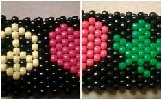 PEACE LOVE WEED Kandi cuff rave bracelet Pothead by yasou8 on Etsy, $8.00
