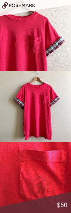 90s / Oversized Marlboro Tee Super soft and worn Marlboro pocket tee with flannel trim on sleeves. One of a kind!  BRAND: Marlboro MATERIAL: 100% cotton  YEAR/ERA: 90s LABEL SIZE: - BEST FIT: M/L  MEASUREMENTS: Chest 22.5 inches  Length 30 inches  *Listed as LF for search visibility.  ☒ I do not model or trade, sorry! ❁ Check out my closet for more vintage! LF Tops Tees - Short Sleeve