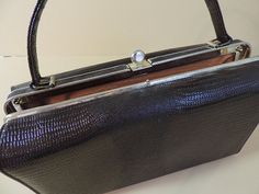 Purse Alligator Embossed Vinyl Boxed Shaped Vintage by ThriftyCrow 26