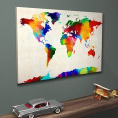 Colourful and vibrant sponge paint map of the world, by artPause