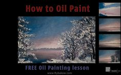 How to paint winter landscape oil painting-free lesson painting artist V...