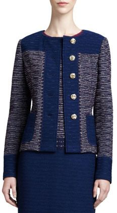 St. John Textured Space Dyed Tweed Knit Jacket and Degrade Textured Sheath Dress,Marine/Blue on shopstyle.com