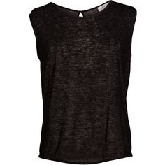 Velvet by Graham and Spencer Delia Textured Knit Round Neck Top ($86) ❤ liked on Polyvore featuring tops, t-shirts, black, round neck tees, sleeveless tshirt, long length t shirts, knot top and long tops