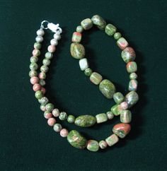 $17.00 FALLING LEAVES NECKLACE. Unakite always reminds me of fall, the stones are the color of turning leaves.  From my favorite vendor.  Love.