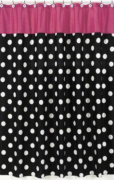 Hot Dot Modern Kids Bathroom Fabric Bath Shower Curtain by Sweet Jojo Designs Modern Shower Curtains, Floral Shower Curtains, Traditional Shower Curtains, Polka Dot Fabric, Polka Dots, Retro Fabric, Bath Girls, Kids Bath, Curtain Patterns