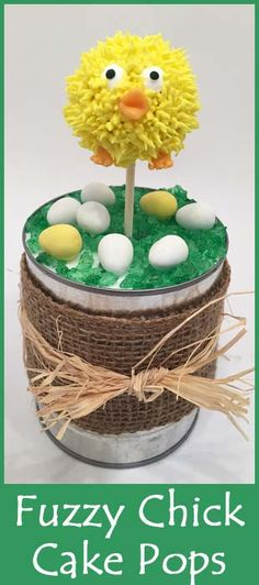 Easter Ideas! Fuzzy Chick Cake Pops. Fun idea for a centerpiece or just for eating!