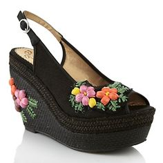 "Poetic Licence ""Petal Pusher"" Flower Wedge Slingback at HSN.com"