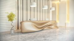 """Nitska Reception Desk by Nuvist - Soft and gentle-looking yet rigid and durable, the design's """"melting"""" visual peculiarity is sure to be a functional focal point of any reception area or office space. Read more at http://www.yankodesign.com/2014/01/16/undulating-desk/#pKjLZSU4M5145e2w.99"""