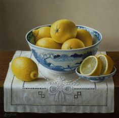 "Chinese Bowl with Lemons  12""x12""   Sold"