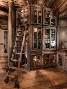 My dream home library. The Beauty and the Beast ladder with quaint wooden bookcases. I hope I collect enough books to fill a book case. Library Room, Dream Library, Mini Library, Library Ladder, Library Corner, Vintage Library, Beautiful Library, Beautiful Homes, Book Nooks
