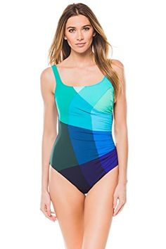 572315c433 Profile by Gottex Women s Mondrian One Piece Tank (D Cup) Swimsuit Multi 10D