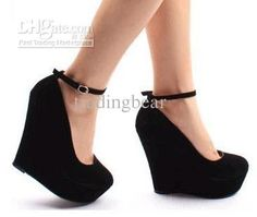 US $20.71 - 24.78 / Pair  Wholesale - suede purple wedges black wedges women's ankle strap high plarform wedges heel shoes