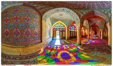 The Nasir al-mulk Mosque in Iran is transformed by sunlight and stained-glass windows. #Wanderlust #Travel