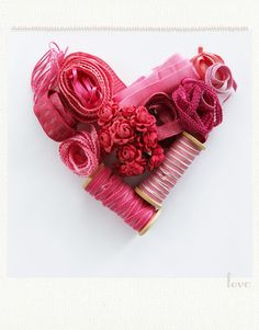 A sweet heart made of ribbon. I love all the different textures.
