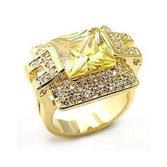 $16.46 with free shipping. WOMEN'S GOLD TONE PRINCESS CUT YELLOW AAA CZ COCKTAIL FASHION RING SIZE 5 #HopeChestJewelry #SolitairewithAccents