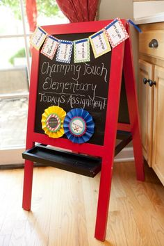 Back to School Breakfast with SUCH CUTE IDEAS via Kara's Party Ideas  Just gave me an idea to revamp our ikea chalkboard...it's a mess.  Think I can paint it a fun color and repaint the chalkboard.