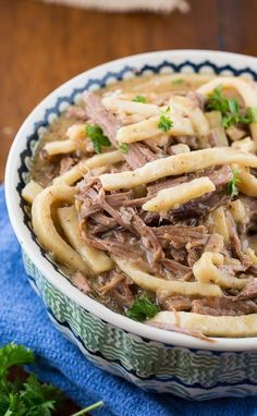 Beef and Noodles cooked in the crock pot. Easy and delicious!